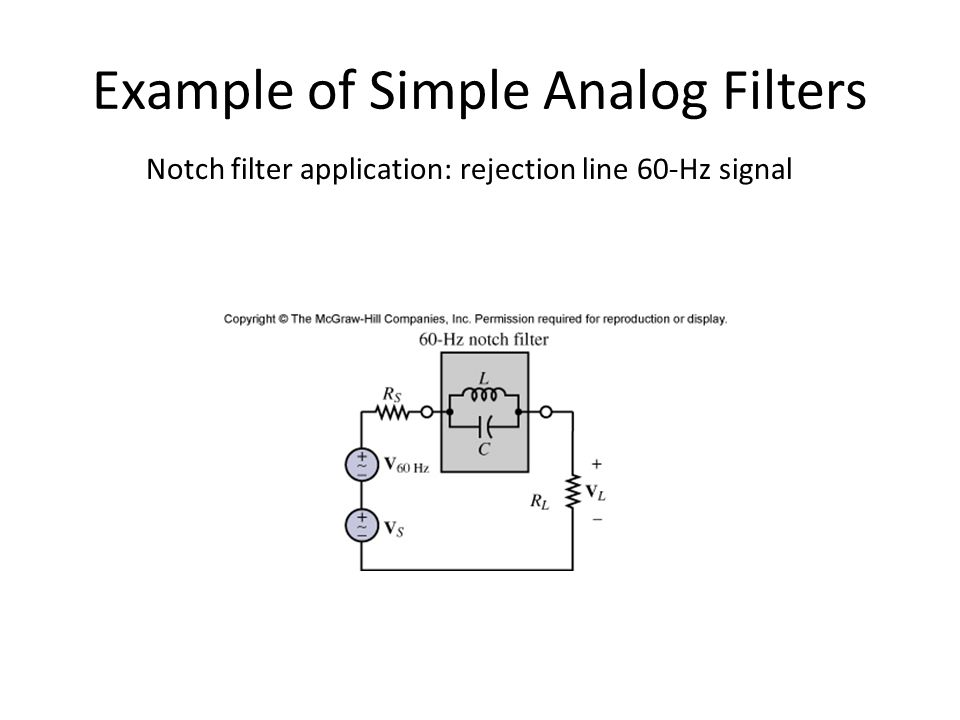 Han Q Le© Example of Simple Analog Filters Notch filter application: rejection line 60-Hz signal