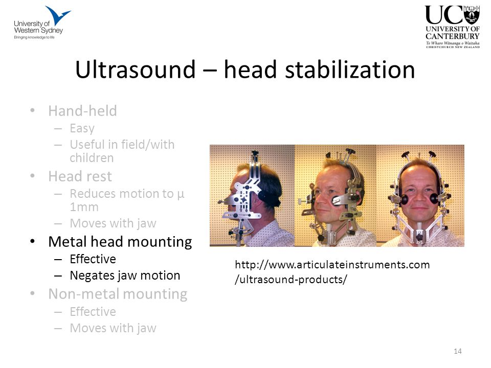 Hand-held – Easy – Useful in field/with children Head rest – Reduces motion to μ 1mm – Moves with jaw Metal head mounting – Effective – Negates jaw motion Non-metal mounting – Effective – Moves with jaw 14 Ultrasound – head stabilization http://www.articulateinstruments.com /ultrasound-products/