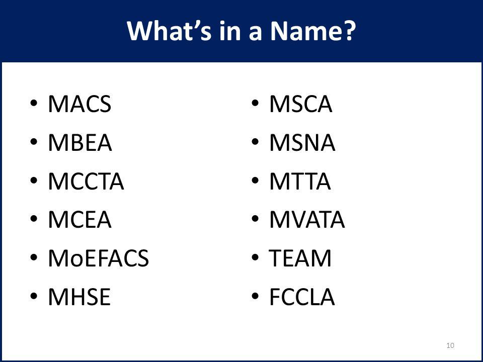 What's in a Name MACS MBEA MCCTA MCEA MoEFACS MHSE MSCA MSNA MTTA MVATA TEAM FCCLA 10