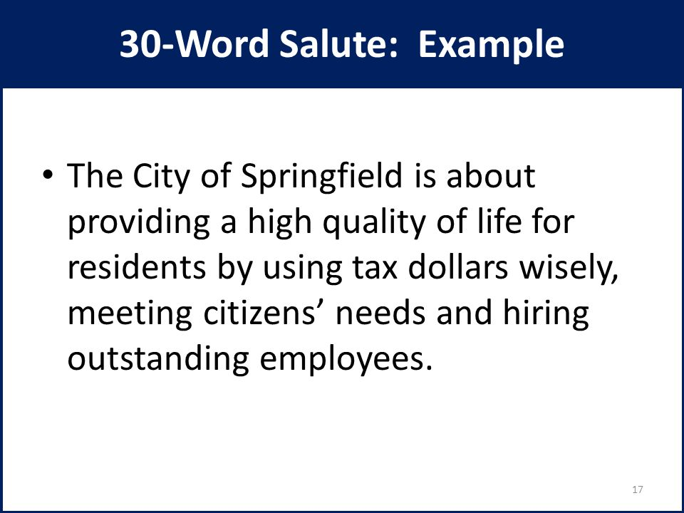 30-Word Salute: Example The City of Springfield is about providing a high quality of life for residents by using tax dollars wisely, meeting citizens'