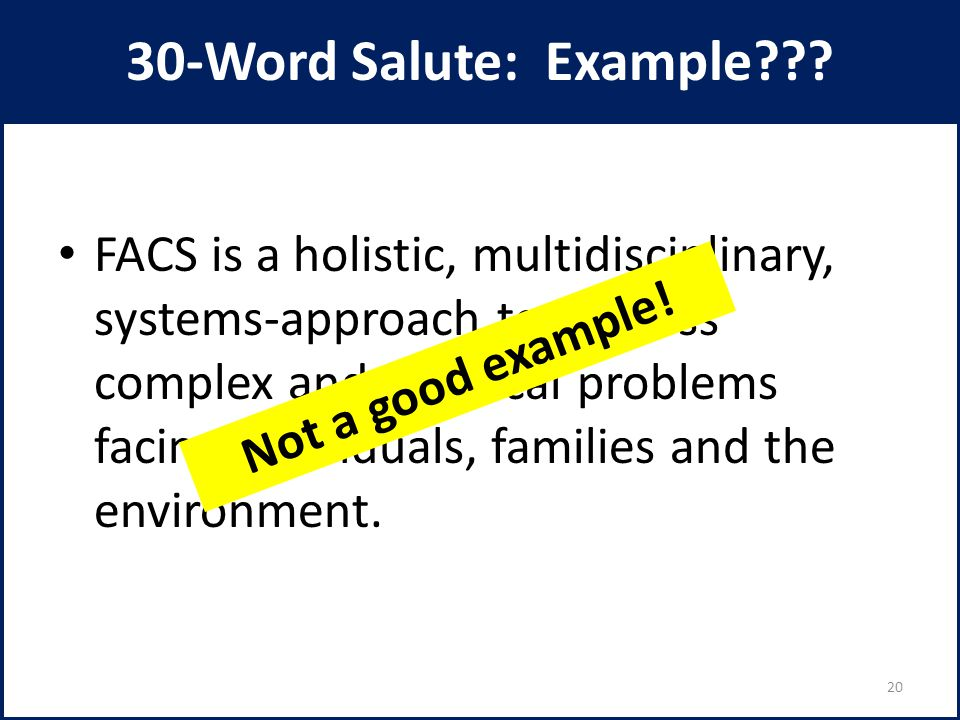 30-Word Salute: Example??? FACS is a holistic, multidisciplinary, systems-approach to address complex and practical problems facing individuals, famil