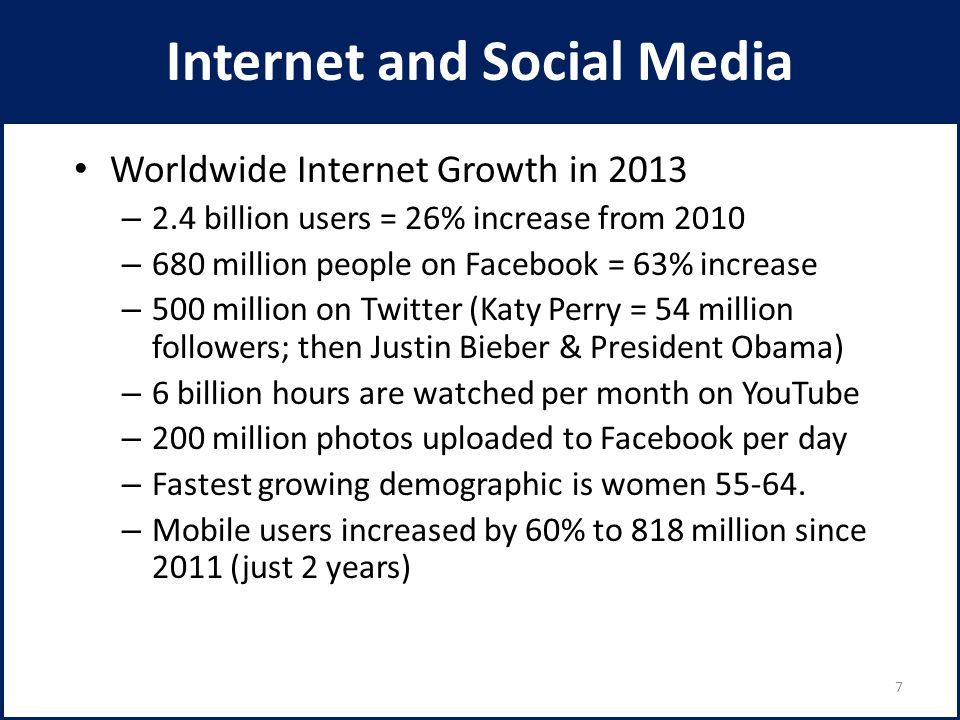 Internet and Social Media Worldwide Internet Growth in 2013 – 2.4 billion users = 26% increase from 2010 – 680 million people on Facebook = 63% increa