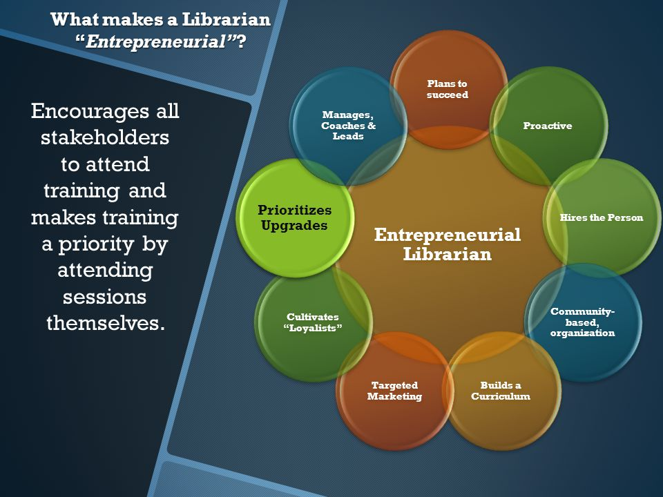 What makes a Librarian Entrepreneurial .