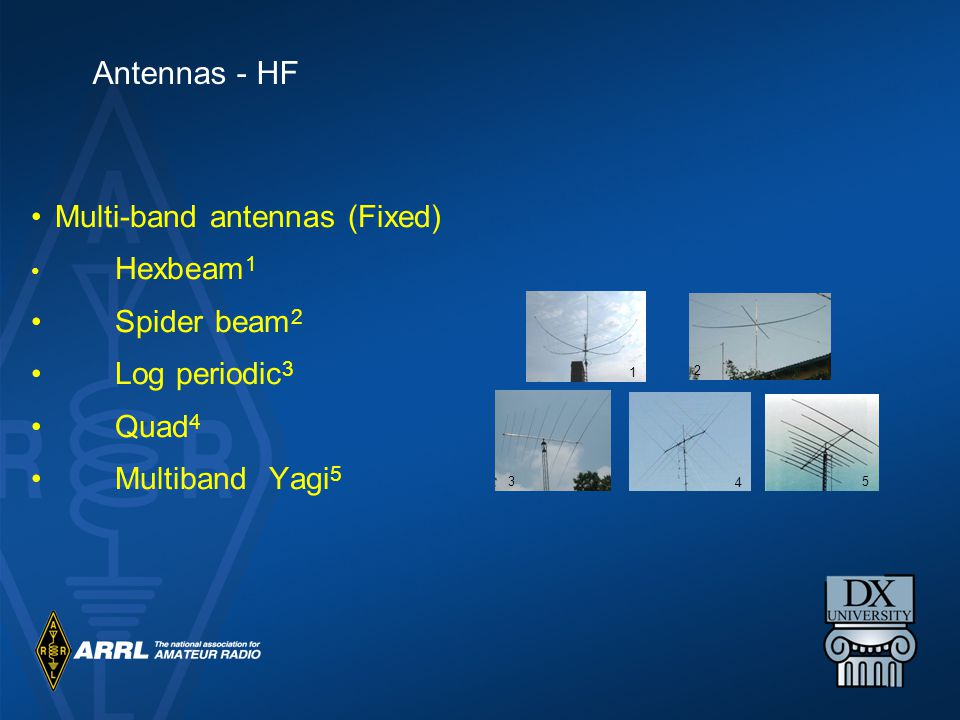Multi-band antennas (Fixed) Hexbeam 1 Spider beam 2 Log periodic 3 Quad 4 Multiband Yagi 5 1 2 4 3 5 Antennas - HF