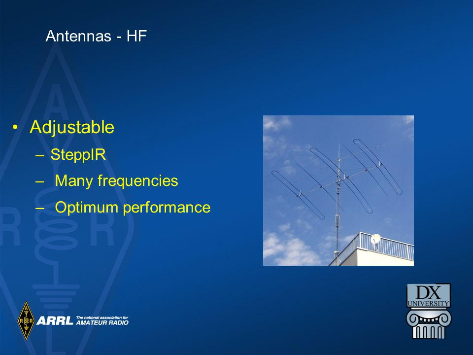Adjustable –SteppIR – Many frequencies – Optimum performance Antennas - HF