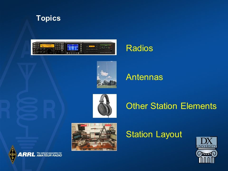 Radios Antennas Other Station Elements Station Layout Topics