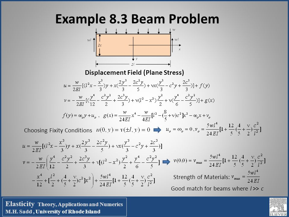 Example 8.3 Beam Problem Choosing Fixity Conditions Strength of Materials: Good match for beams where l >> c Displacement Field (Plane Stress) Elastic