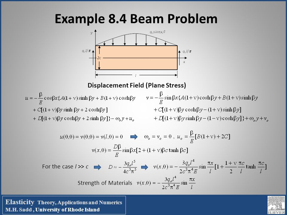 Example 8.4 Beam Problem For the case l >> c Strength of Materials Displacement Field (Plane Stress) Elasticity Theory, Applications and Numerics M.H.