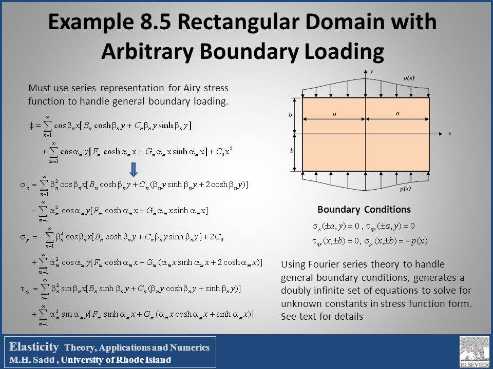 Example 8.5 Rectangular Domain with Arbitrary Boundary Loading Boundary Conditions Must use series representation for Airy stress function to handle g
