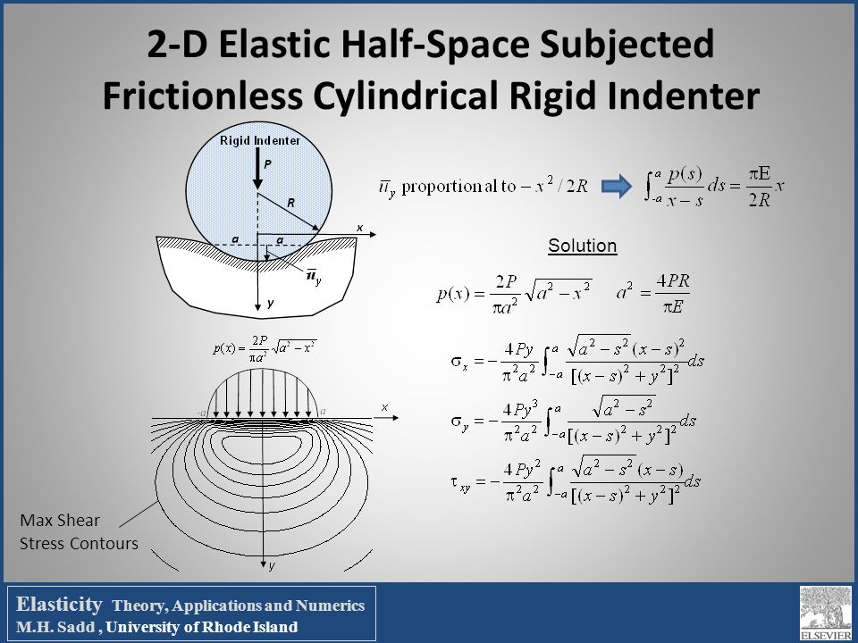 Elasticity Theory, Applications and Numerics M.H. Sadd, University of Rhode Island 2-D Elastic Half-Space Subjected Frictionless Cylindrical Rigid Ind