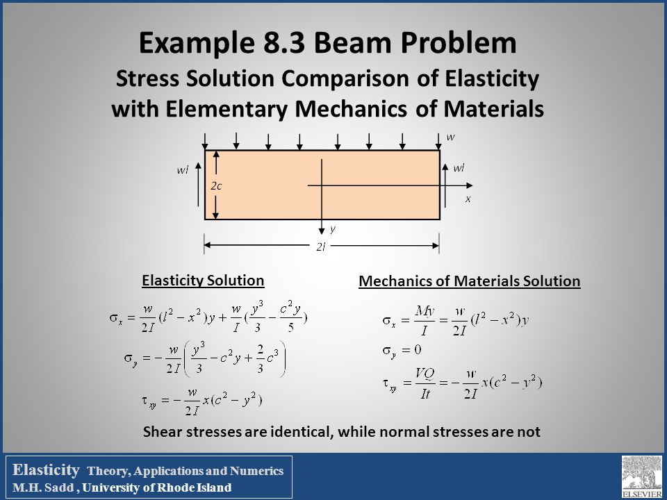 Example 8.3 Beam Problem Stress Solution Comparison of Elasticity with Elementary Mechanics of Materials Elasticity Solution Mechanics of Materials So