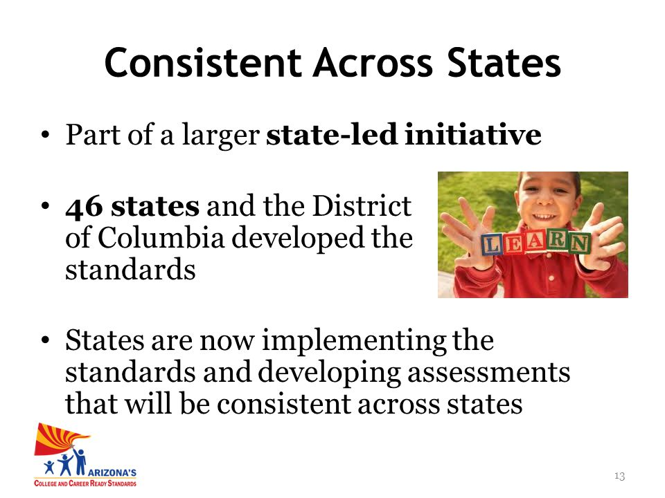13 Part of a larger state-led initiative 46 states and the District of Columbia developed the standards States are now implementing the standards and developing assessments that will be consistent across states Consistent Across States