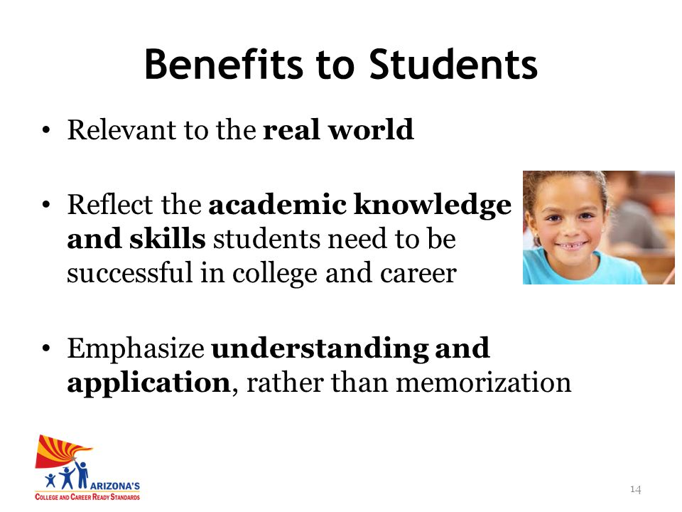 14 Relevant to the real world Reflect the academic knowledge and skills students need to be successful in college and career Emphasize understanding and application, rather than memorization Benefits to Students