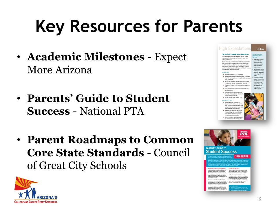 19 Academic Milestones - Expect More Arizona Parents' Guide to Student Success - National PTA Parent Roadmaps to Common Core State Standards - Council