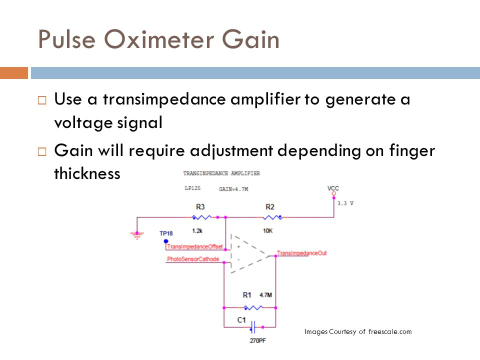 Pulse Oximeter Gain  Use a transimpedance amplifier to generate a voltage signal  Gain will require adjustment depending on finger thickness Images