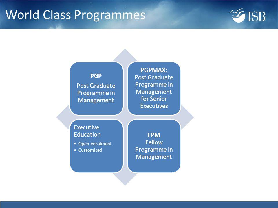 World Class Programmes PGP Post Graduate Programme in Management PGPMAX: Post Graduate Programme in Management for Senior Executives Executive Education Open enrolment Customised FPM Fellow Programme in Management