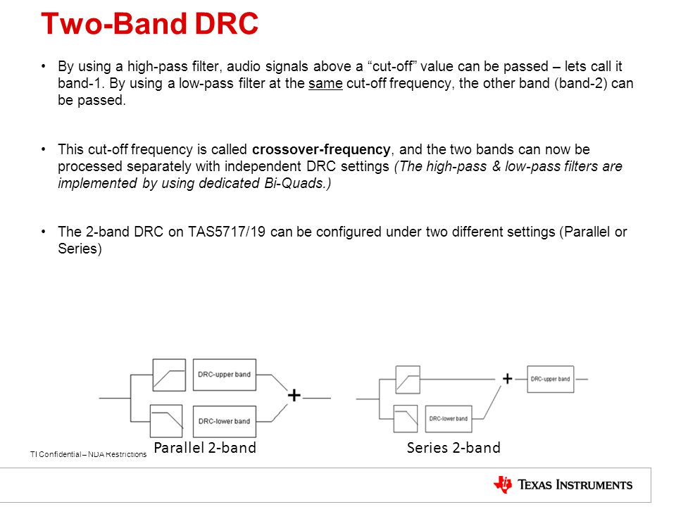 "TI Confidential – NDA Restrictions Two-Band DRC By using a high-pass filter, audio signals above a ""cut-off"" value can be passed – lets call it band-1"