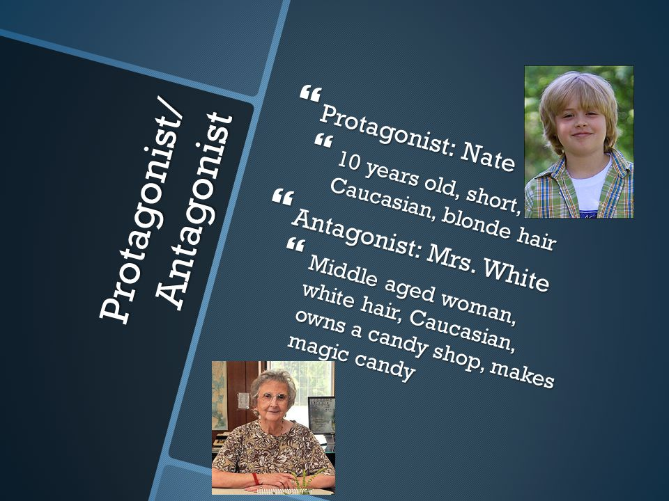 Protagonist/ Antagonist  Protagonist: Nate  10 years old, short, Caucasian, blonde hair  Antagonist: Mrs. White  Middle aged woman, white hair, Ca