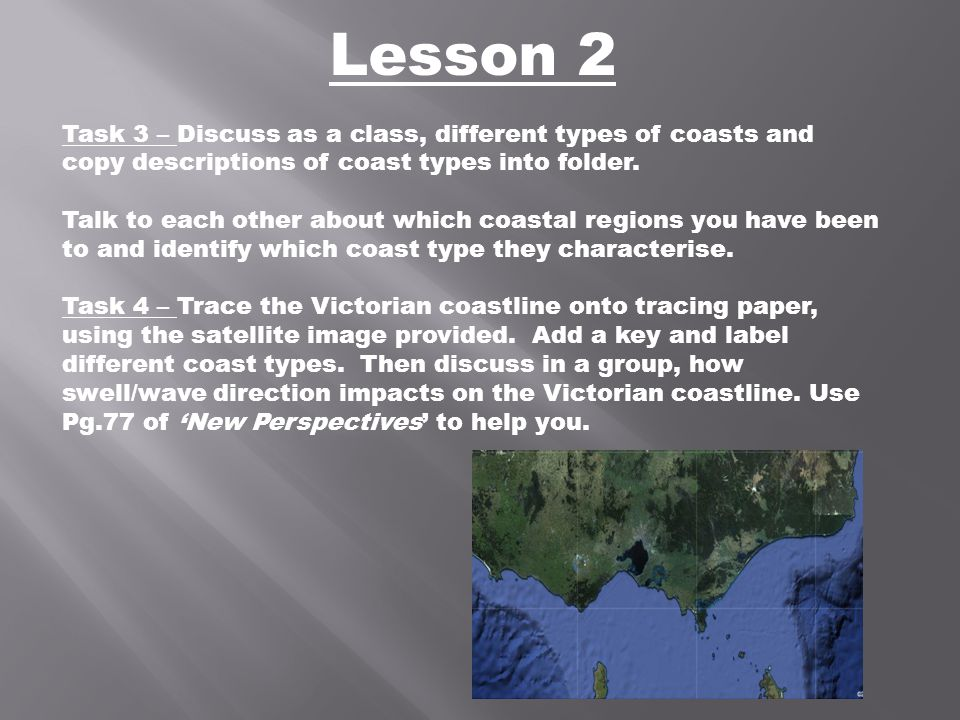 Lesson 2 Task 3 – Discuss as a class, different types of coasts and copy descriptions of coast types into folder. Talk to each other about which coast