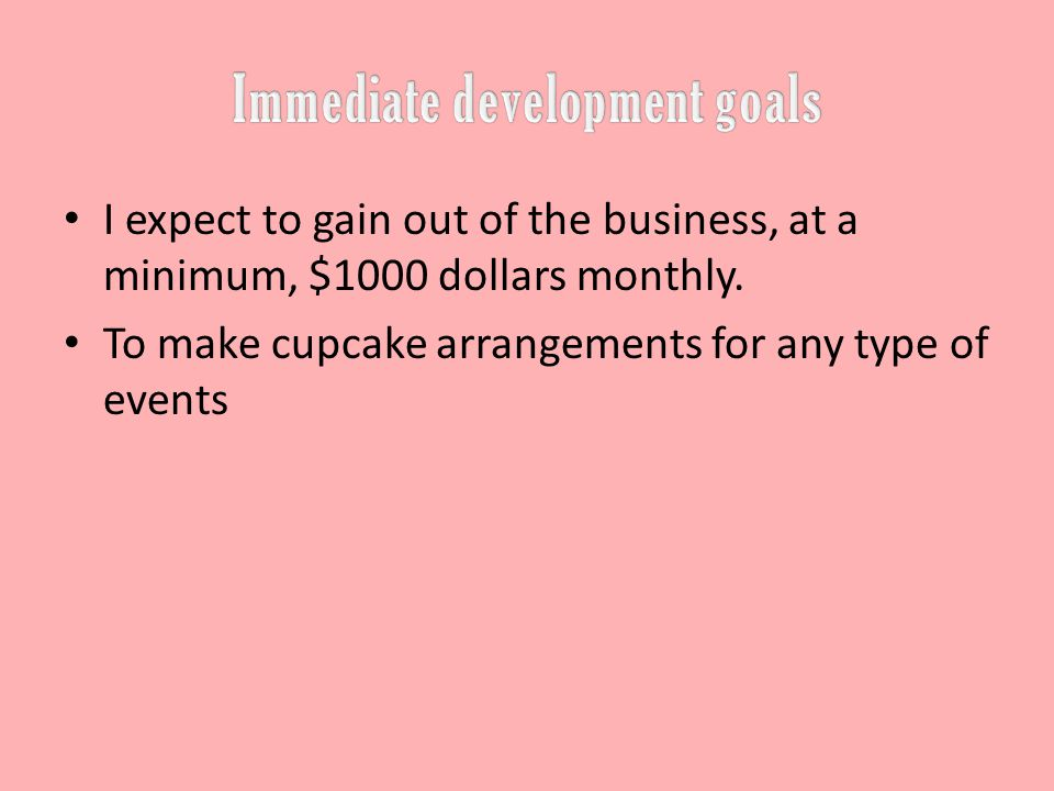 I expect to gain out of the business, at a minimum, $1000 dollars monthly.