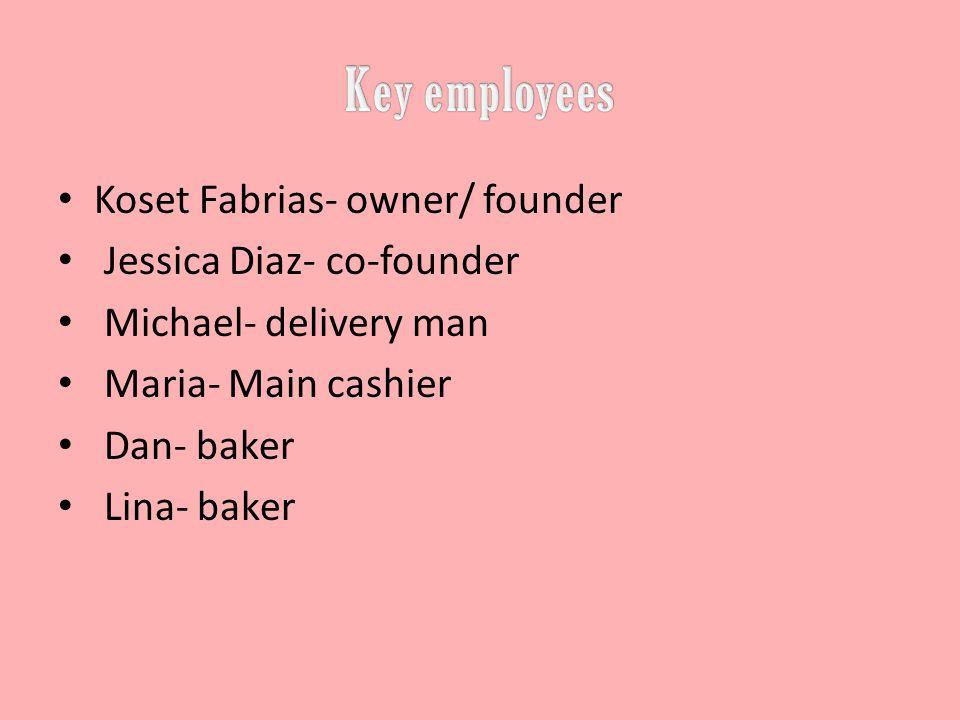 Koset Fabrias- owner/ founder Jessica Diaz- co-founder Michael- delivery man Maria- Main cashier Dan- baker Lina- baker
