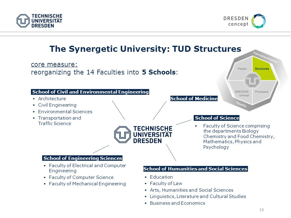 16 The Synergetic University: TUD Structures core measure: reorganizing the 14 Faculties into 5 Schools: School of Civil and Environmental Engineering School of Humanities and Social Sciences School of Science School of Medicine  Faculty of Electrical and Computer Engineering  Faculty of Computer Science  Faculty of Mechanical Engineering  Education  Faculty of Law  Arts, Humanities and Social Sciences  Linguistics, Literature and Cultural Studies  Business and Economics  Faculty of Science comprising the departments Biology Chemistry and Food Chemistry, Mathematics, Physics and Psychology School of Engineering Sciences  Architecture  Civil Engineering  Environmental Sciences  Transportation and Traffic Science