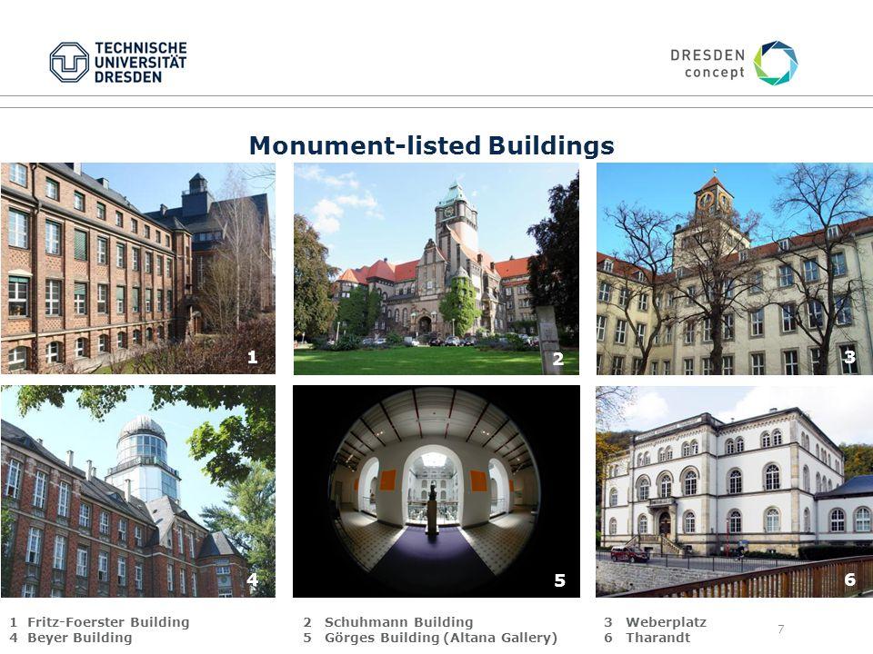 7 Monument-listed Buildings 1 2 3 4 5 6 1 Fritz-Foerster Building 4 Beyer Building 2 Schuhmann Building 5 Görges Building (Altana Gallery) 3 Weberplatz 6 Tharandt 2