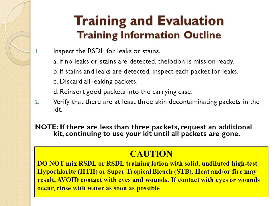 WARNING Do not discard RSDL or training RSDL packaging or applicator pads into containers that contain HTH or STB.