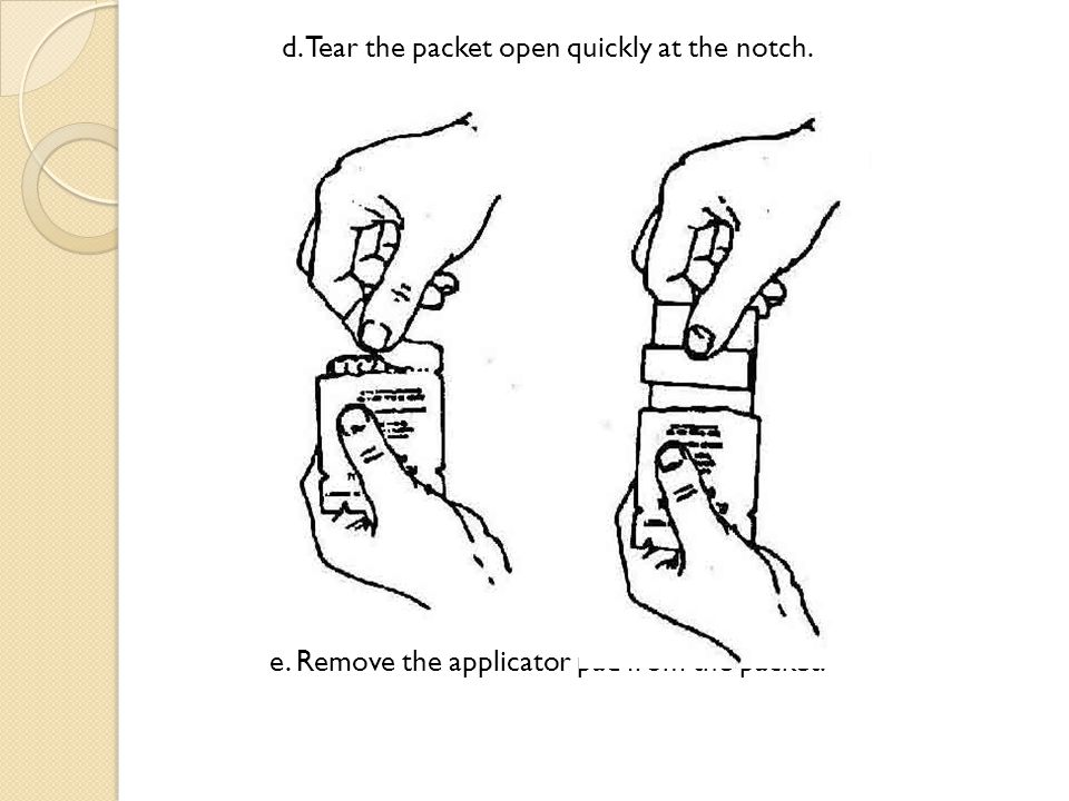 f.Save the packet as the remaining lotion can be added to the applicator pad if required.