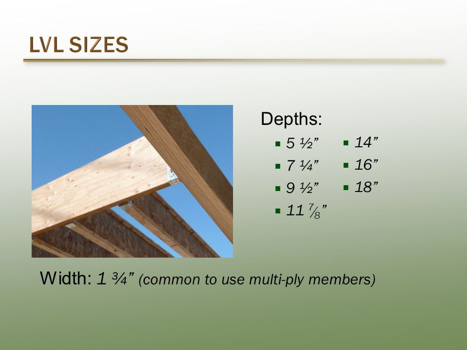 Depths:  5 ½  7 ¼  9 ½  11 7 / 8  14  16  18 Width: 1 ¾ (common to use multi-ply members)