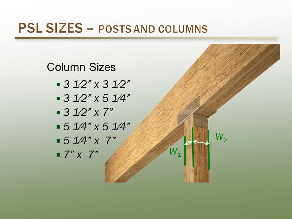  3 1⁄2 x 3 1⁄2  3 1⁄2 x 5 1⁄4  3 1⁄2 x 7  5 1⁄4 x 5 1⁄4  5 1⁄4 x 7  7 x 7 W1W1 W2W2 Column Sizes
