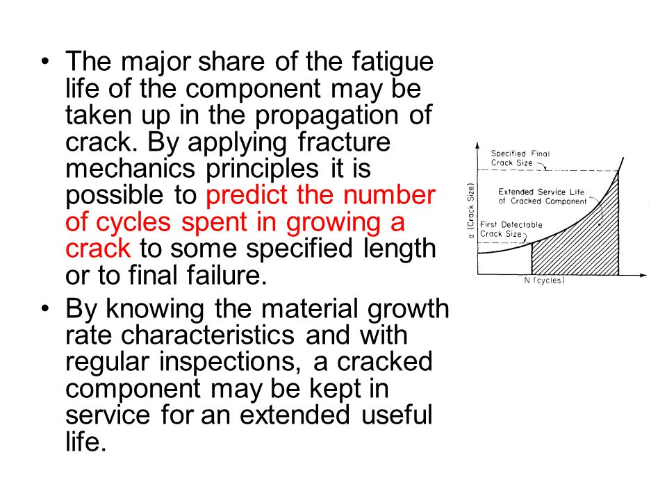 The major share of the fatigue life of the component may be taken up in the propagation of crack. By applying fracture mechanics principles it is poss