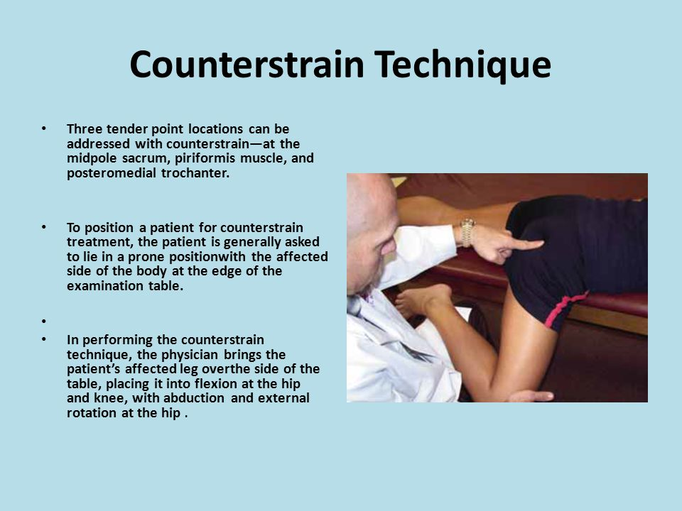 Counterstrain Technique Three tender point locations can be addressed with counterstrain—at the midpole sacrum, piriformis muscle, and posteromedial t