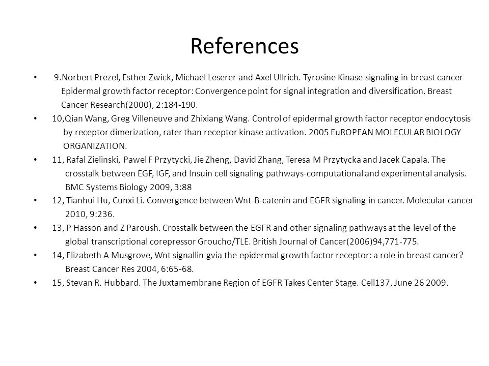 References 9.Norbert Prezel, Esther Zwick, Michael Leserer and Axel Ullrich.