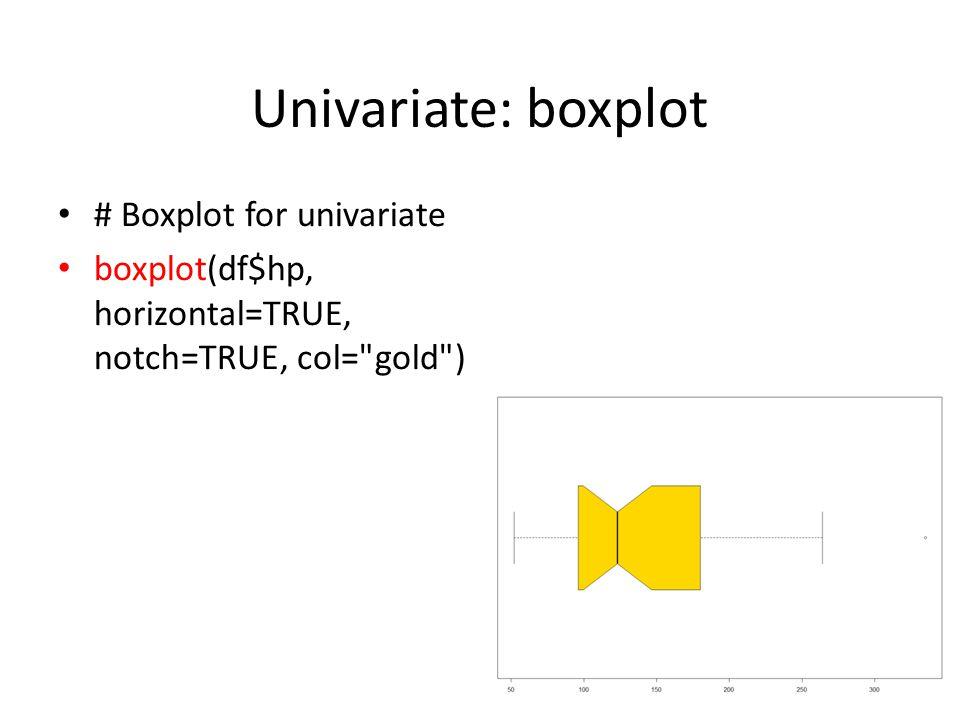 Univariate: boxplot # Boxplot for univariate boxplot(df$hp, horizontal=TRUE, notch=TRUE, col= gold ) 8