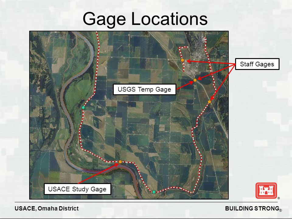 BUILDING STRONG ® USACE, Omaha District Gage Locations Staff Gages USGS Temp Gage USACE Study Gage