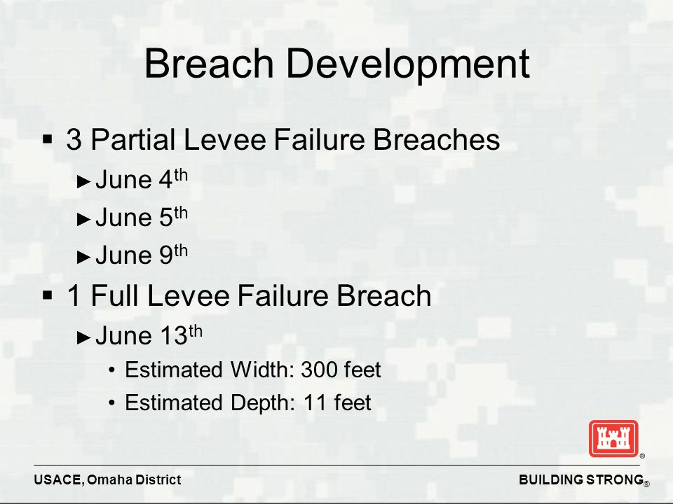 BUILDING STRONG ® USACE, Omaha District Breach Development  3 Partial Levee Failure Breaches ► June 4 th ► June 5 th ► June 9 th  1 Full Levee Failu