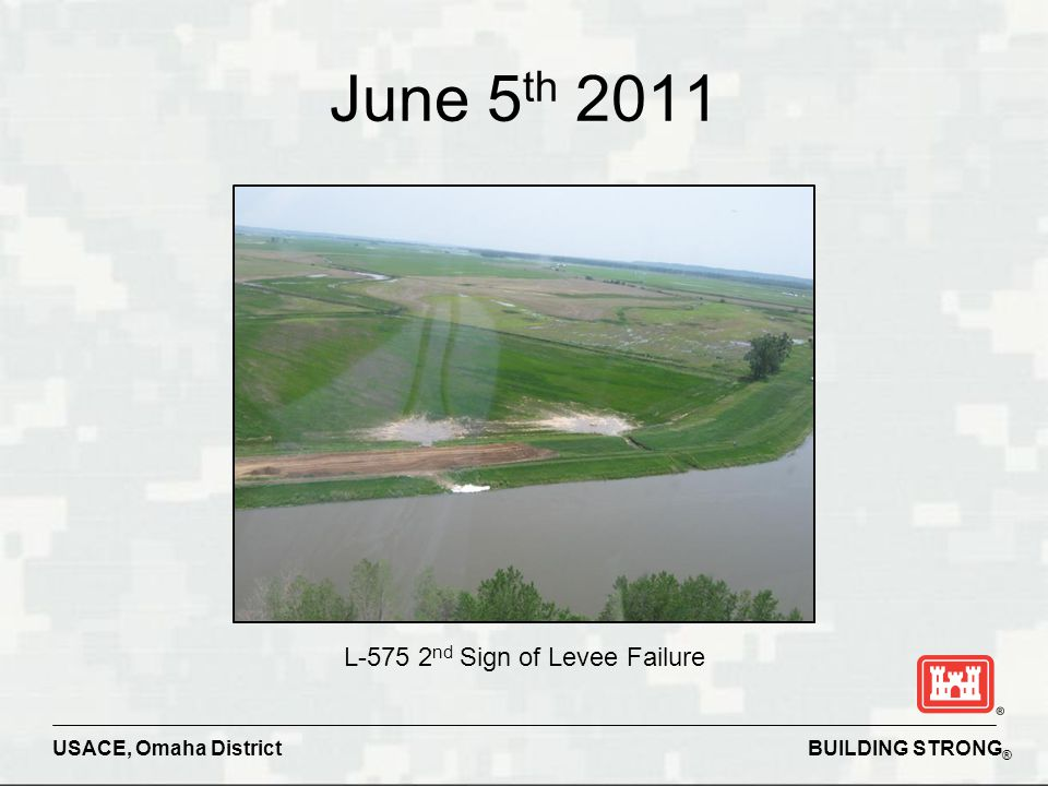 BUILDING STRONG ® USACE, Omaha District June 5 th 2011 L-575 2 nd Sign of Levee Failure