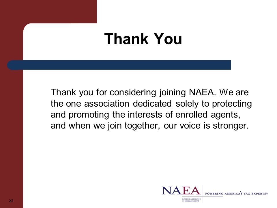 Thank You Thank you for considering joining NAEA.