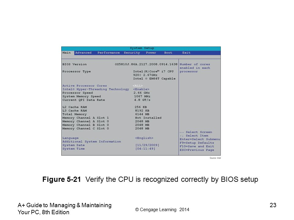 © Cengage Learning 2014 A+ Guide to Managing & Maintaining Your PC, 8th Edition 23 Figure 5-21 Verify the CPU is recognized correctly by BIOS setup