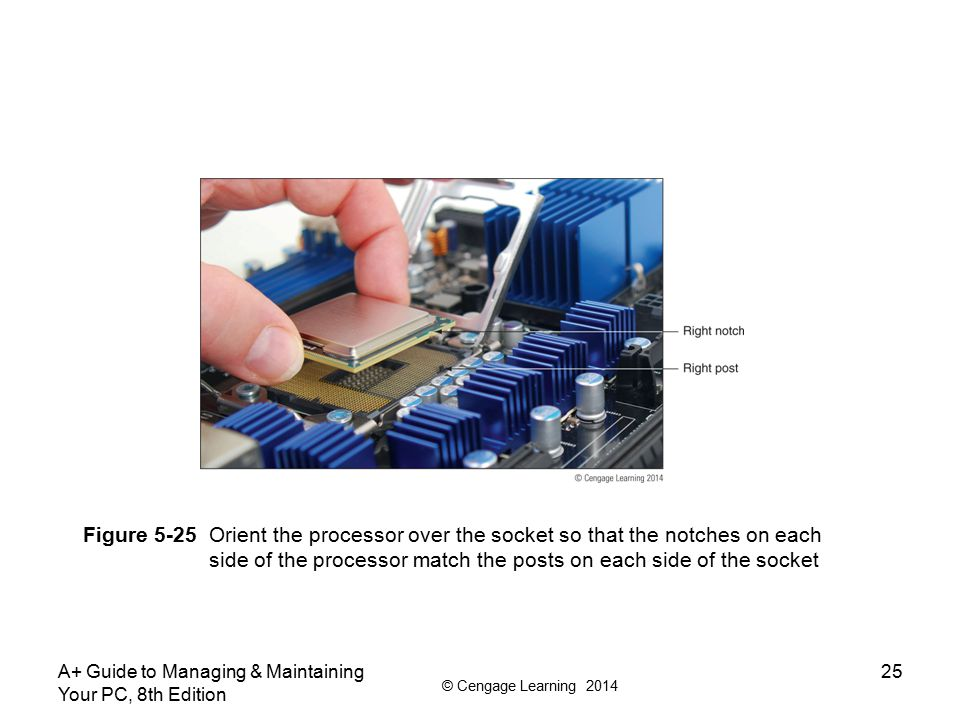 © Cengage Learning 2014 A+ Guide to Managing & Maintaining Your PC, 8th Edition 25 Figure 5-25 Orient the processor over the socket so that the notche