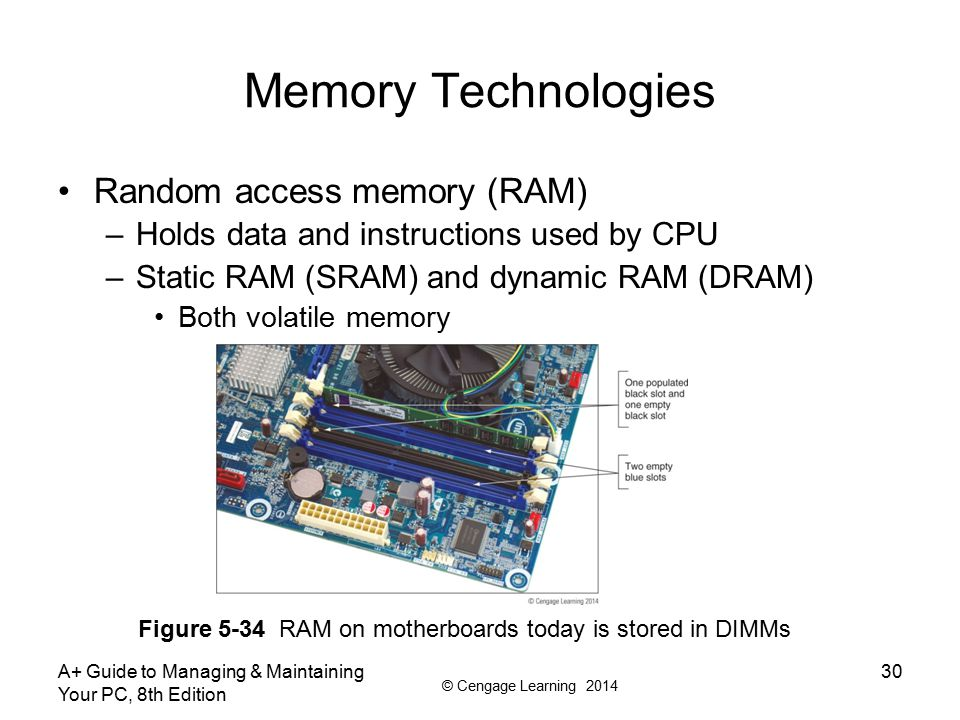 © Cengage Learning 2014 Memory Technologies Variations of DRAM –DIMM – dual inline memory module –small outline DIMM (SO-DIMM) – used on laptops –microDIMMs – used on subnotebook computers –RIMM and SIMM (outdated) Differences among DIMM, RIMM, SIMM modules –Data path width each module accommodates –How data moves from system bus to module A+ Guide to Managing & Maintaining Your PC, 8th Edition 31