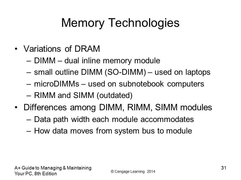 © Cengage Learning 2014 A+ Guide to Managing & Maintaining Your PC, 8th Edition 32 Table 4-3 Types of memory modules