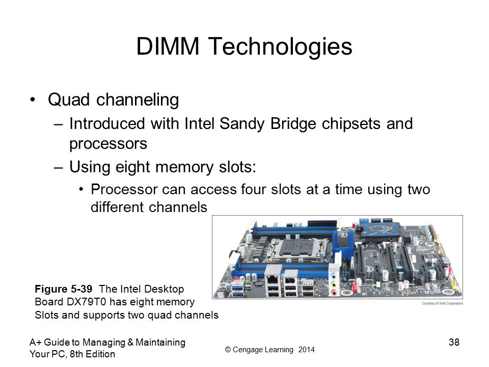 © Cengage Learning 2014 DIMM Technologies Setting up dual channeling –Pair of DIMMs in a channel must be equally matched Size, speed, features Use same manufacturer (recommendation) A+ Guide to Managing & Maintaining Your PC, 8th Edition 39 Figure 5-37 Matching pairs of DIMMs installed in four DIMM slots that support dual channeling