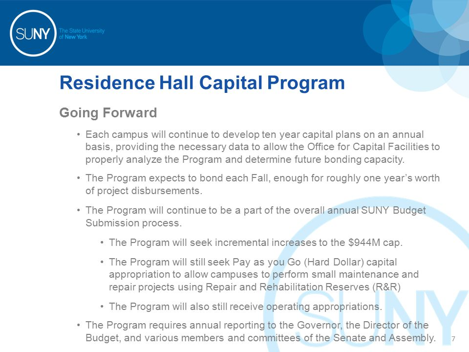Residence Hall Capital Program Bonded Project Initiation Process – History and Current 2007 and before – Bond by Project Projects or phases of projects were bonded in their entirety Campuses owned a portion of bonds and related debt service in perpetuity If a project missed a bond sale, it had to wait until the next year's sale 2008 to 2012 – Cash Flow Bonds Bonds were sold to fund the Program for 12-15 months, based on projected payments by campus and project Once all proceeds are disbursed, campus debt service is adjusted based on actual use Additional or Ad-Hoc projects could be added and started at anytime during the year, assuming that they would not cause cash flow problems for the Program and as long as there was available bonded appropriation (2013 forward) – Dormitory Facilities Revenue Bonds The Program will no longer be limited by the annual appropriation $944M cap will be increased every couple of years as needed Projects will initially be submitted as part of the annual capital plan process and receive final approval through a new project approval process to be coordinated with DASNY.