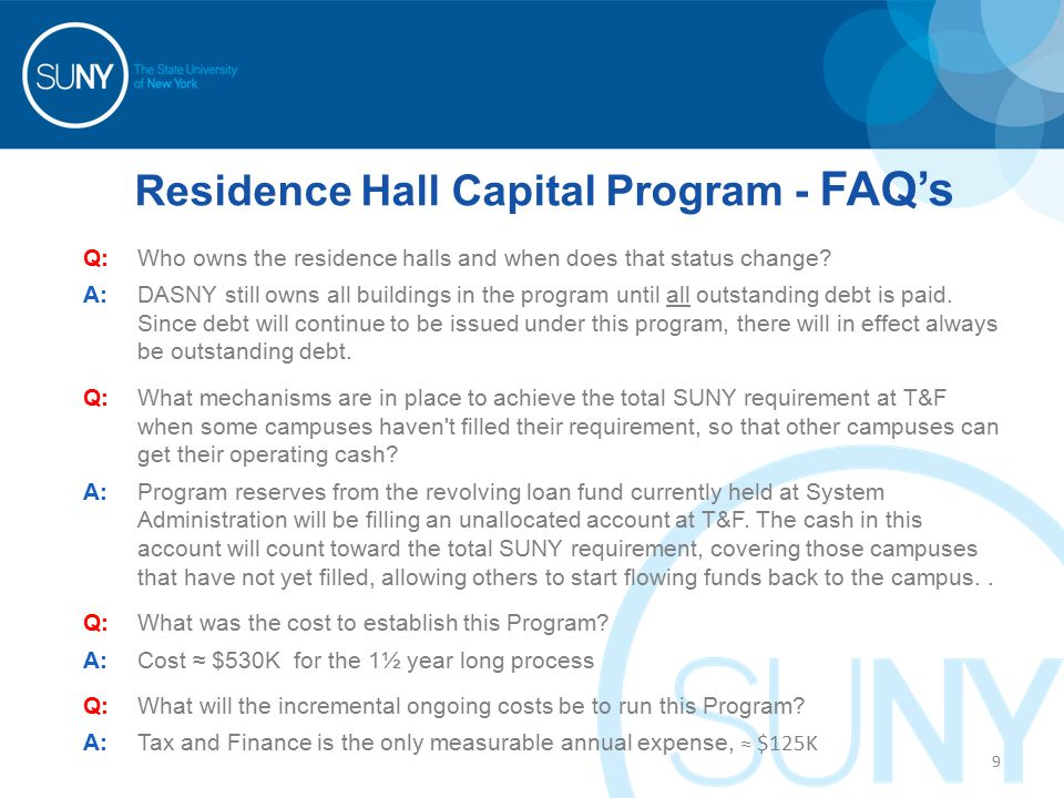 Residence Hall Capital Program - FAQ's Q:Who owns the residence halls and when does that status change.