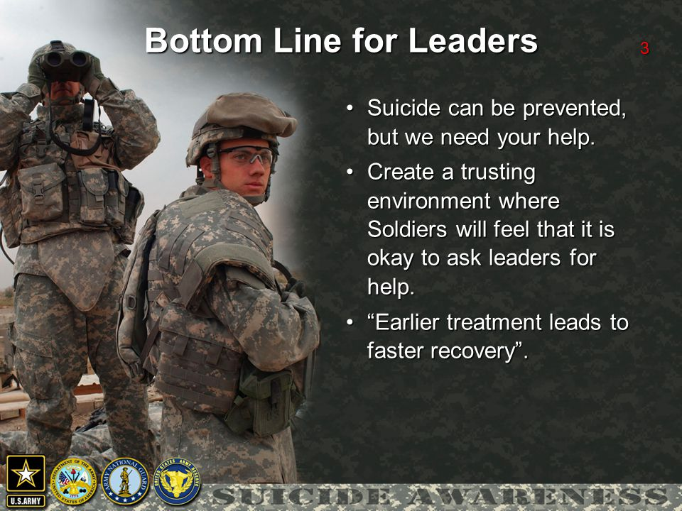 3 Bottom Line for Leaders Suicide can be prevented, but we need your help.Suicide can be prevented, but we need your help.