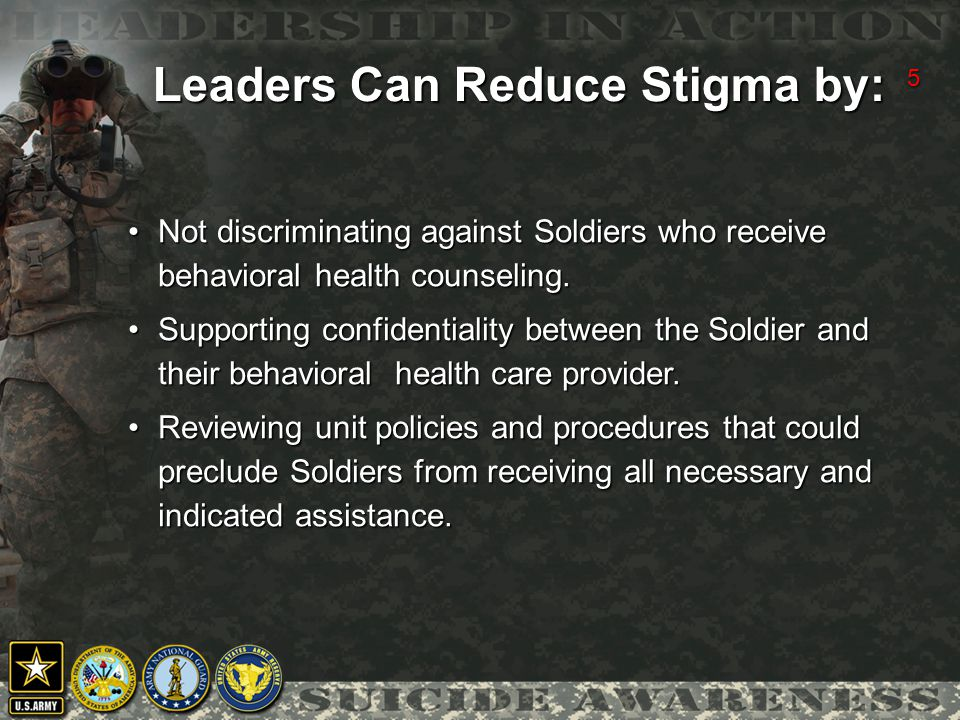 5 Not discriminating against Soldiers who receive behavioral health counseling.Not discriminating against Soldiers who receive behavioral health counseling.
