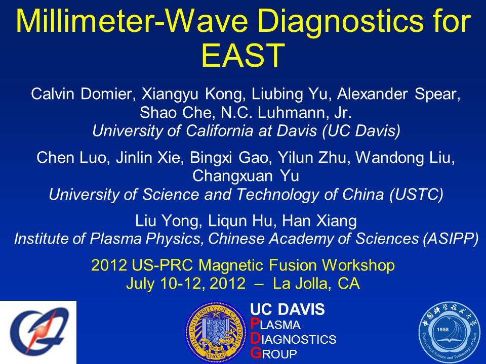 Millimeter-Wave Diagnostics for EAST Calvin Domier, Xiangyu Kong, Liubing Yu, Alexander Spear, Shao Che, N.C.