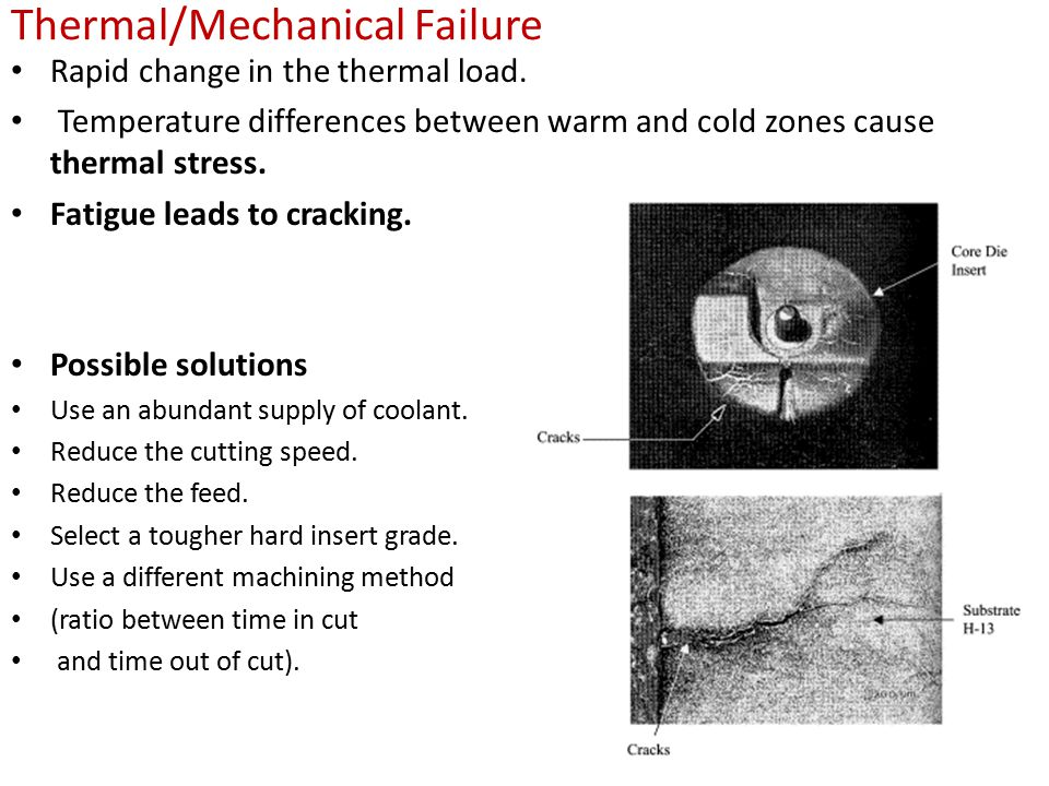 Thermal/Mechanical Failure Rapid change in the thermal load. Temperature differences between warm and cold zones cause thermal stress. Fatigue leads t